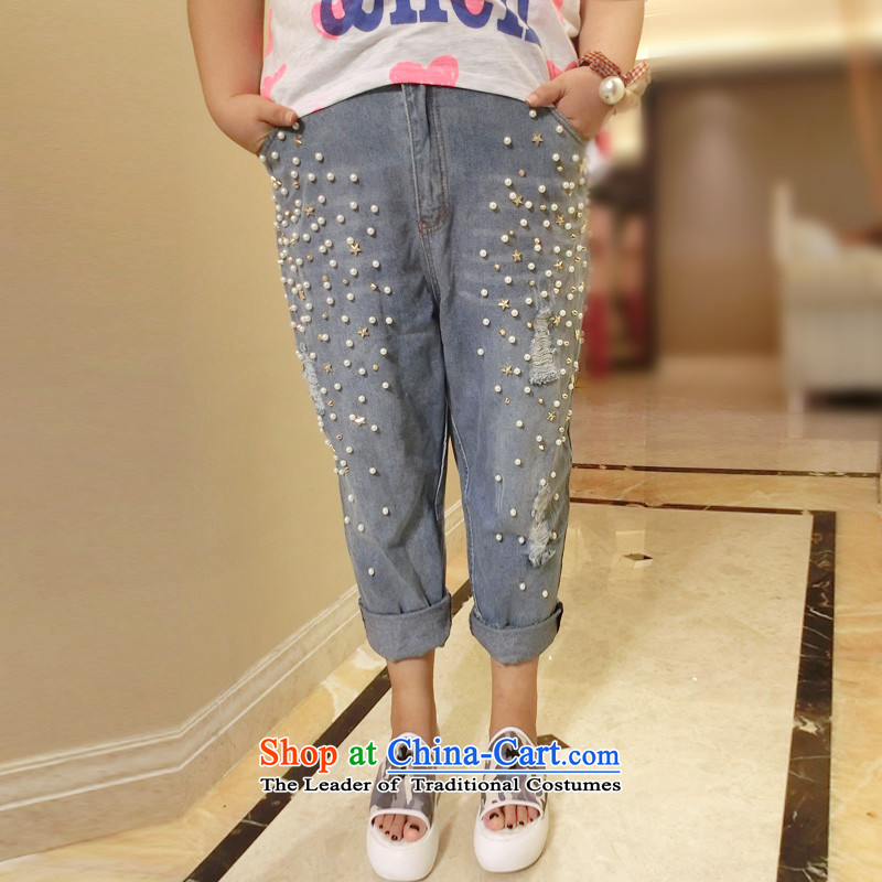 Addiction is larger female thick sister extra women 200 catties summer nail Mun-zhuhai code jeans female 837 Blue 32