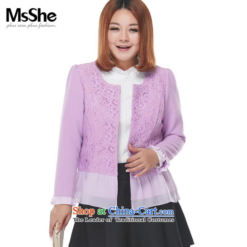 To increase the number msshe women 2015 Autumn new boxed version won thick mm thin coat jacket Sau San graphics which reached 12.7545 trillion purple  2XL