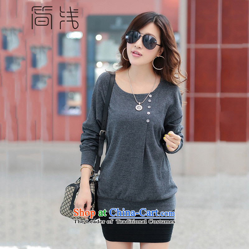 In short light autumn 2015 installed the new Korean version of large numbers of female loose long-sleeved T-shirt with round collar in forming the long sleeved clothes women 8075 Light Gray XL