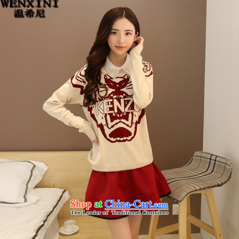 Heeney�15 Spring temperature new Korean large relaxd casual dress kit dresses ZN001 ivory with burgundy red燤