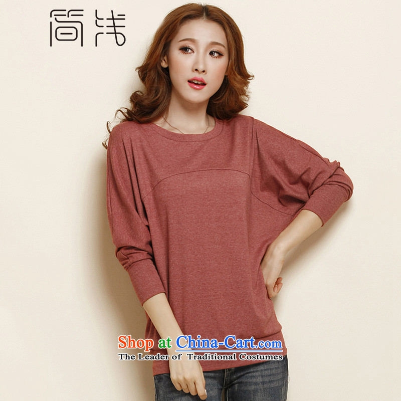 In short light autumn 2015 new women's long-sleeved T-shirt and women to women's code load autumn wild bat sleeves wear shirts female autumn 1127 Rust Red XXXL