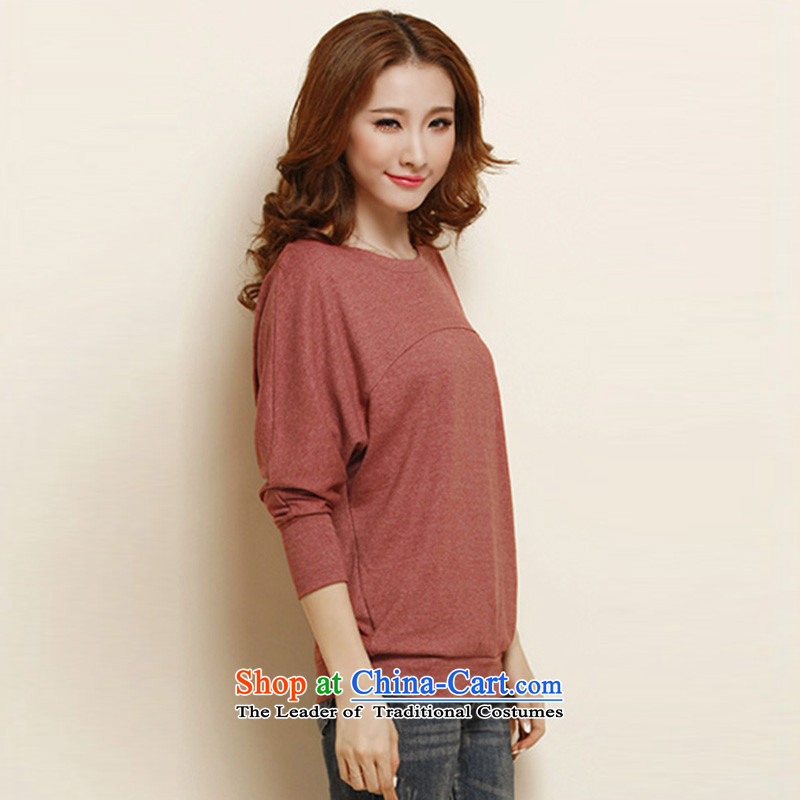 In short light autumn 2015 new women's long-sleeved T-shirt and women to women's code load autumn wild bat sleeves wear shirts female autumn 1127 Rust Red shallow base.... XXXL, shopping on the Internet