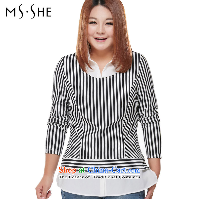 Msshe xl women 2015 streaks stitching leave two long-sleeved video thin stretch OL knitted t-shirt, black-and-white 5XL 7549