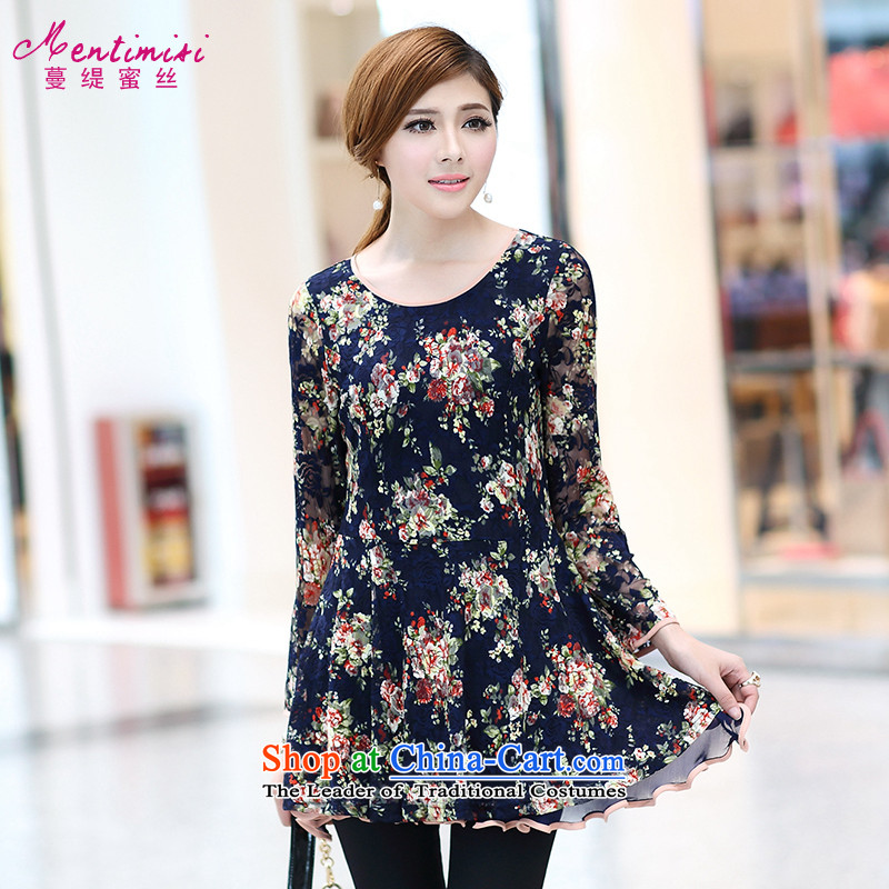 Overgrown Tomb economy honey silk extra women 2014 Autumn New) thick sister sweet flowers lace long-sleeved dresses video thin2656large floral 4XL