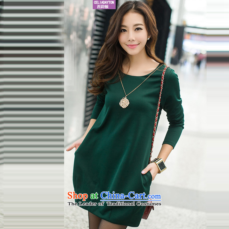 Szili Clinton larger women 2015 Autumn new boxed version Korean dresses thick mm to intensify the video of the thin temperament skirt wear long-sleeved dark green XXXL skirt