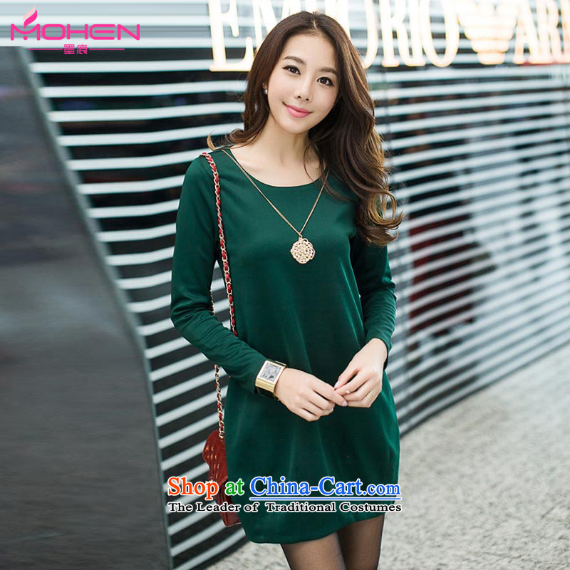 Ink marks the new Korean autumn large stylish and elegant dresses larger female loose video thin fine decorated pendants temperament long-sleeved dresses?content7120??4XL( dark green for a catty appears at paragraphs 145-155)