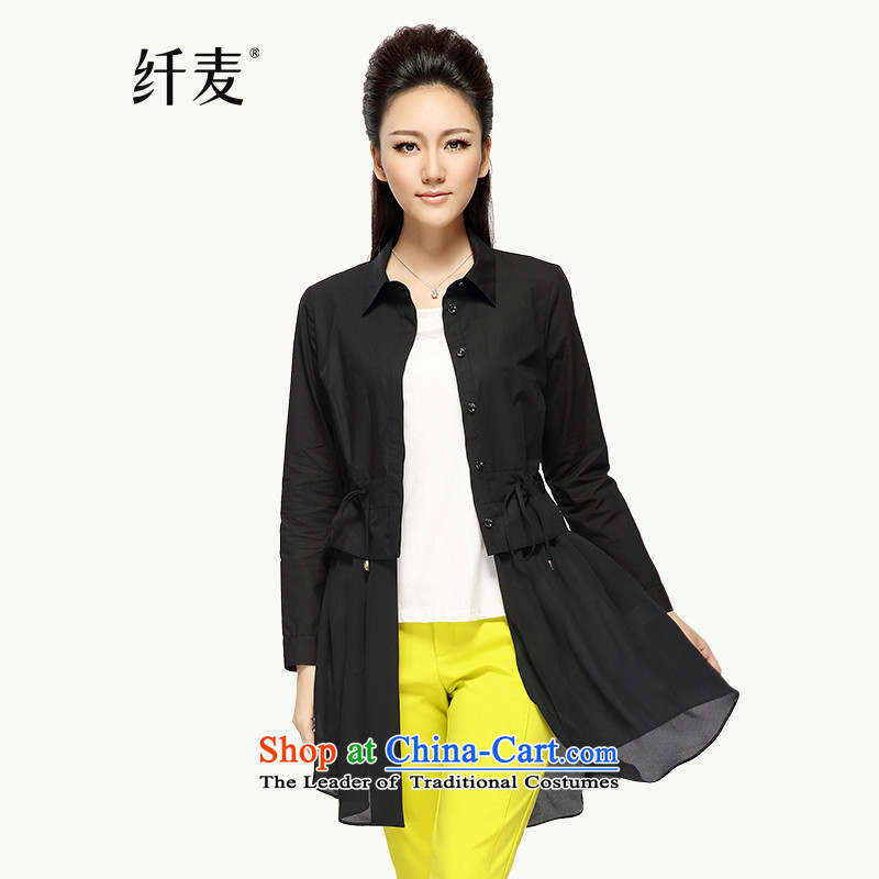 The former Yugoslavia Migdal Code women 2015 Autumn replacing new stylish mm thick solid-colored long-sleeved jacket�219 shirt female燽lack�L