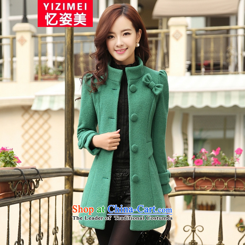 Recalling that the United States2015 autumn and winter Gigi Lai new for women a Korean version of the Sau San in the jacket long coats gross? female fruit greenXL