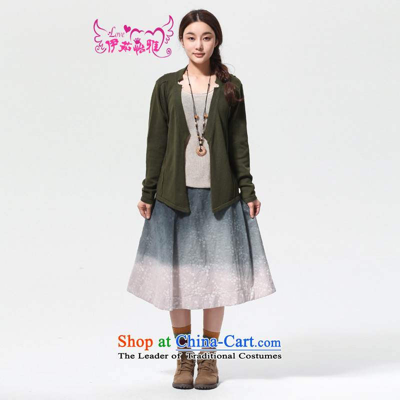 El-ju Yee Nga 2015 autumn large new women's stylish cotton knit sweater YJ90182 Cardigan Army green are code