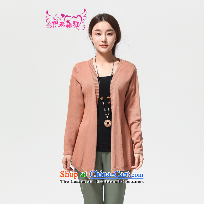 El-ju Yee Nga autumn 2014 new larger female Korean thick cotton wool liberal MM cardigan jacket YJ90681 leather pink are code