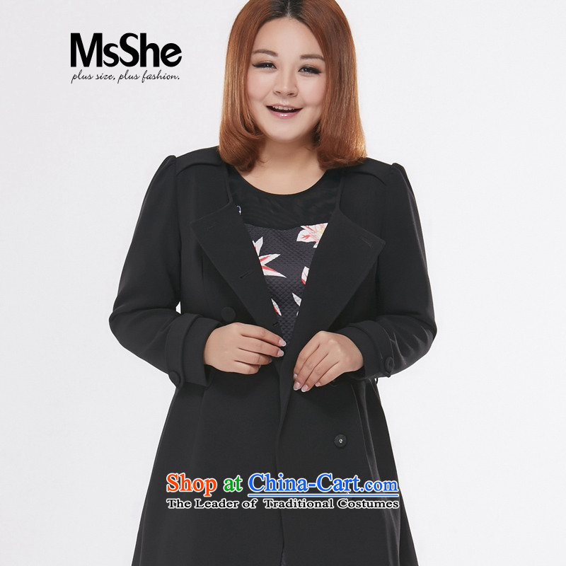 Msshe xl women 2015 new stylish Korean autumn boxed in long Wind Jacket coat 7581 double-black2XL