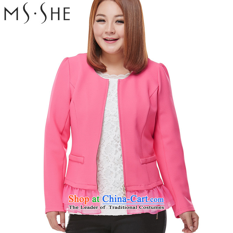 Msshe xl female jackets thick MM2015 autumn replacing new products long-sleeved stitching chiffon cardigan video thin red 3XL public officials was 16.76 trillion