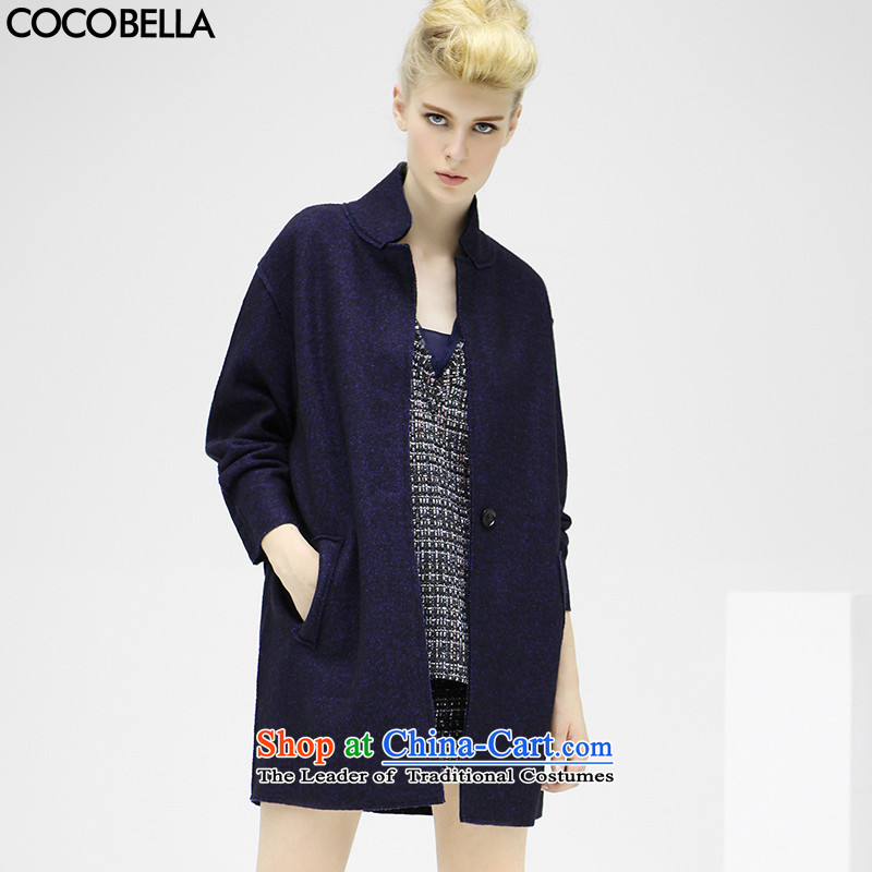 2015 Autumn and Winter Europe COCOBELLA auricle minimalist style wind a grain of detained wool coat CT176 female hair? blue S