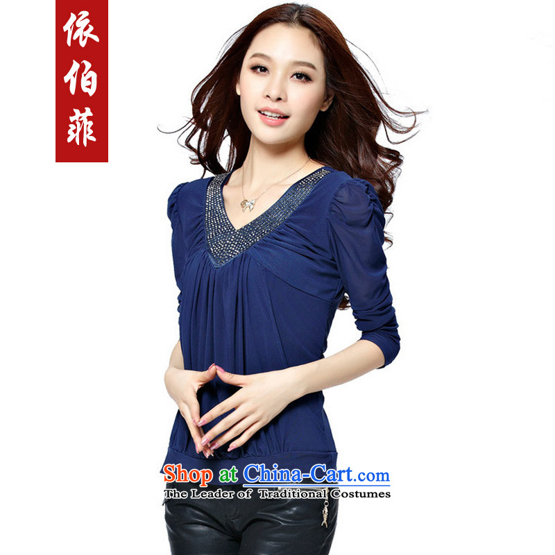 In accordance with the 2015 autumn perfect new_ thick MM TO XL Graphics thin diamond long-sleeved shirt, forming the V-neck shirt Y032 BLUE XXXXL female