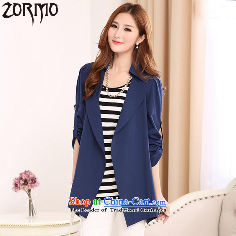燣arge ZORMO women during the spring and autumn stretch chiffon shirt, long to xl cardigan thick mm vocational jackets blue�L 185-205 catty