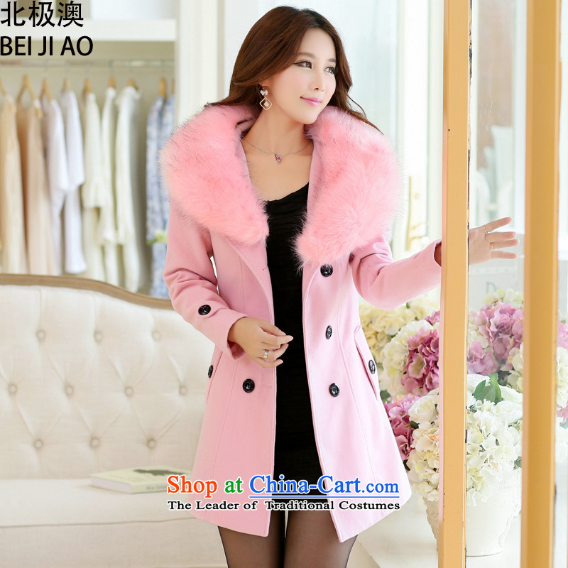 Arctic o fall 2014 stylish Korean large Sau San Mao a wool coat female nagymaros collar workers in long coats autumn pink XXL