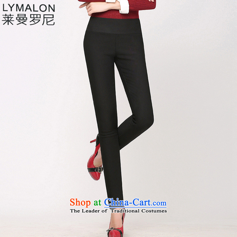 The lymalon lehmann thick, Hin thin 2015 autumn the new Korean version of large numbers of women who are wild plus forming the castor trousers, lint-free PRESENCE black?XXL
