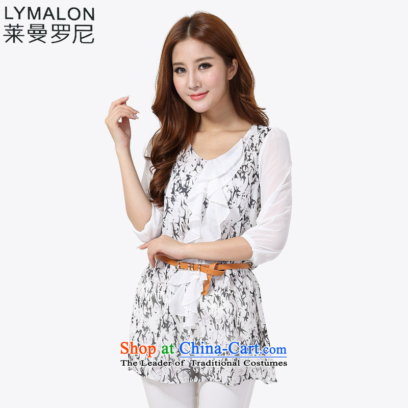 The lymalon lehmann thick, Hin thin 2015 autumn the new Korean version of large numbers of ladies fashion Sau San 7 cuff round-neck collar chiffon shirt Y801 White燲XL