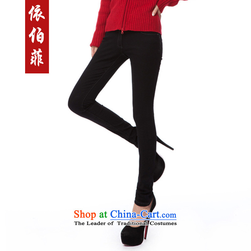 In accordance with the燢orean version of 2015, perfect the new Fat MM to xl Stretch video skinny legs jeans pants female Y043 boots black燣