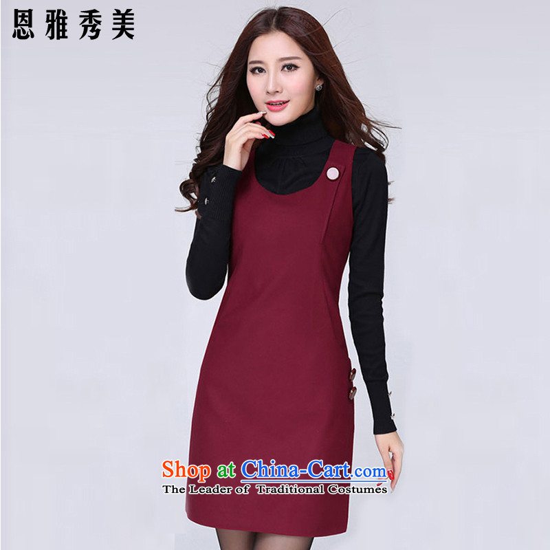 Eun-Ya Xiu 2015 autumn and winter new women's thick MM to xl Korean Sau San sweet sleeveless gross? vest dresses 51_ wine red� 2XL recommendations 128-138 catty