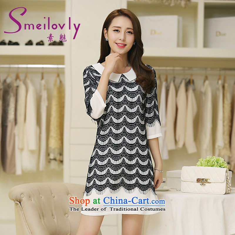 The Director of the women's code for Summer Snow woven dresses thick mm2015 new Korean edition dolls for cuff燬2624 skirts牋XXXXL black
