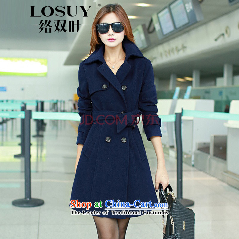 Contact Us dual leaf fall 2015 new boxed temperament Sau San lapel a wool coat girl in long double-video thin wind jacket navy燬