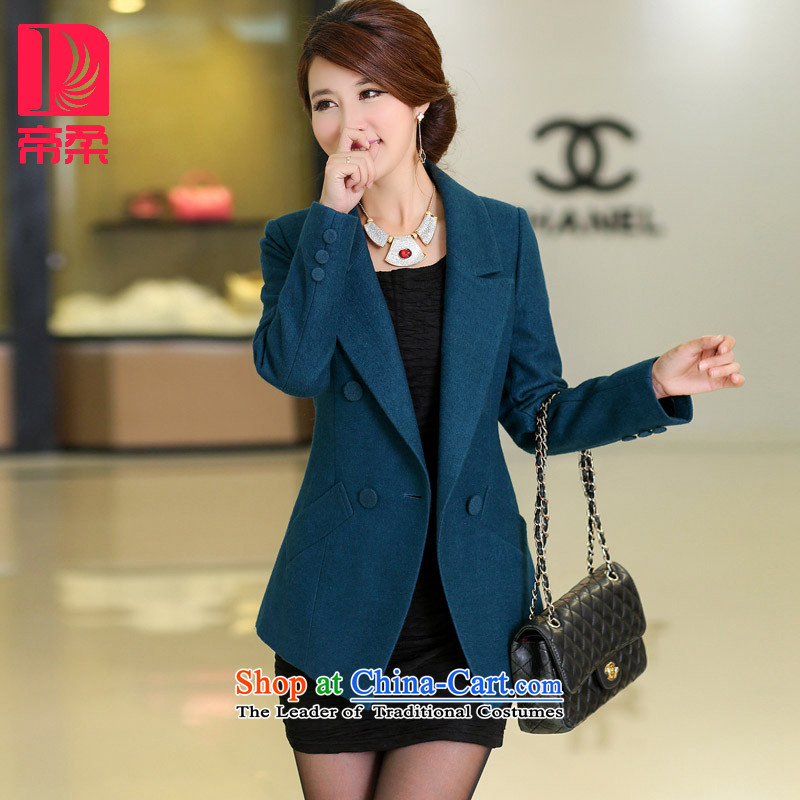 The new autumn _DIROU_2015 Sophie loaded short of gross? jacket, Ms. Siu Sai clothing large Sau San code DD219 sea blueXXL
