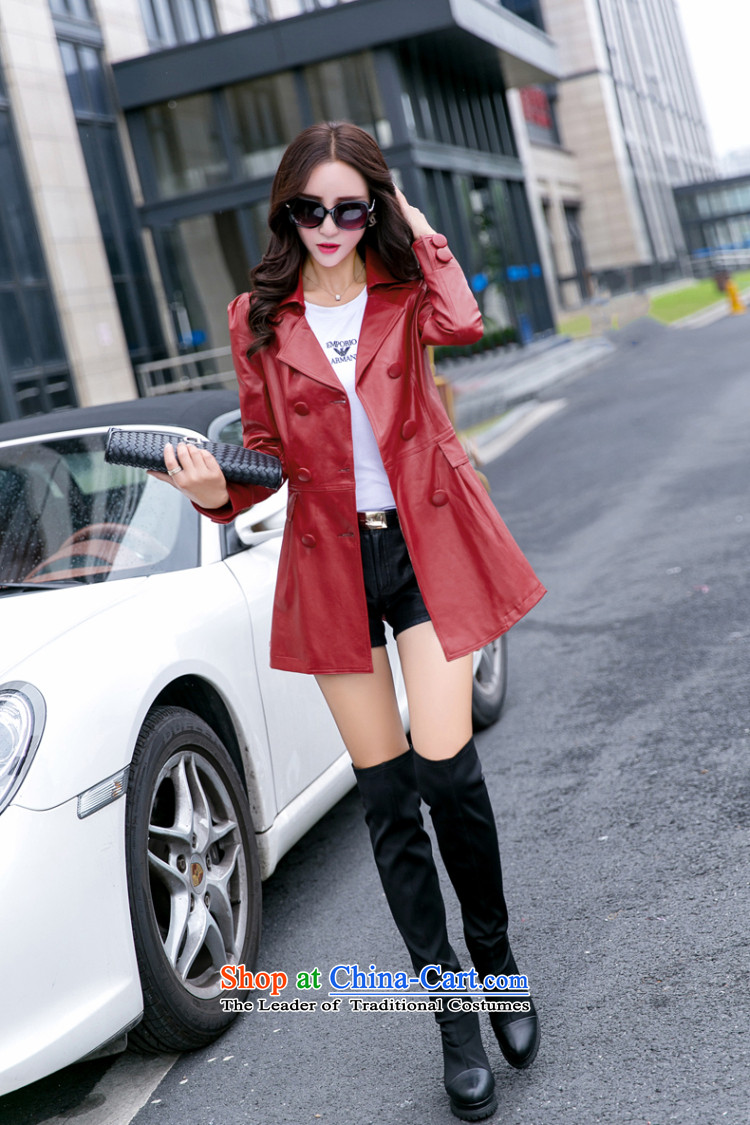 Morning to 2015 autumn and winter new to increase long-sleeved blouses and skin code windbreaker in double-long video thin leather jacket Sau San black jacket聽4XL RECOMMENDATIONS 150 - 160131 catty picture, prices, brand platters! The elections are supplied in the national character of distribution, so action, buy now enjoy more preferential! As soon as possible.