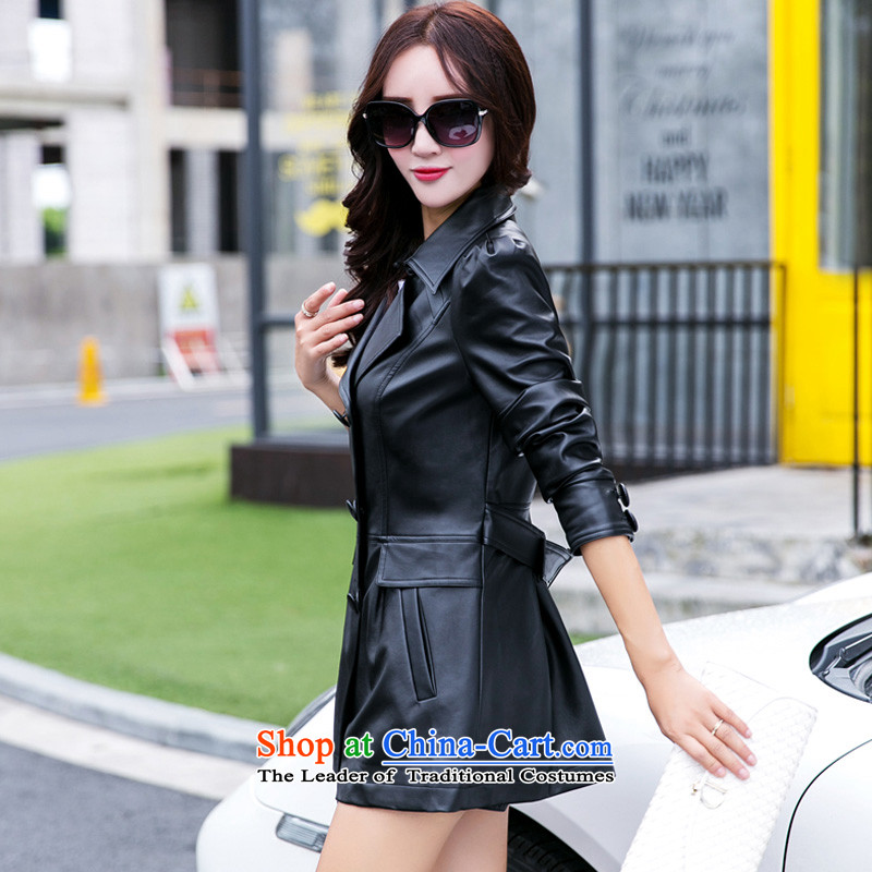 Morning to 2015 autumn and winter new to increase long-sleeved blouses and skin code windbreaker in double-long video thin leather jacket Sau San black jacket聽4XL RECOMMENDATIONS 150 - 160131, morning to , , , shopping on the Internet