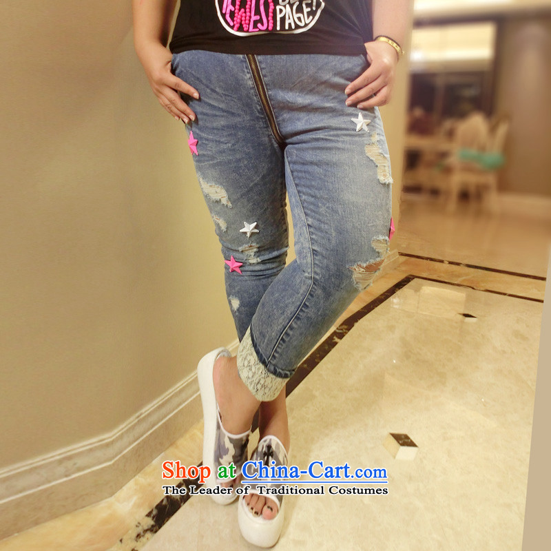 Addiction is larger female Korean version of large numbers of female 200mm thick to burden increase tension castor trousers 1363 Denim blue�