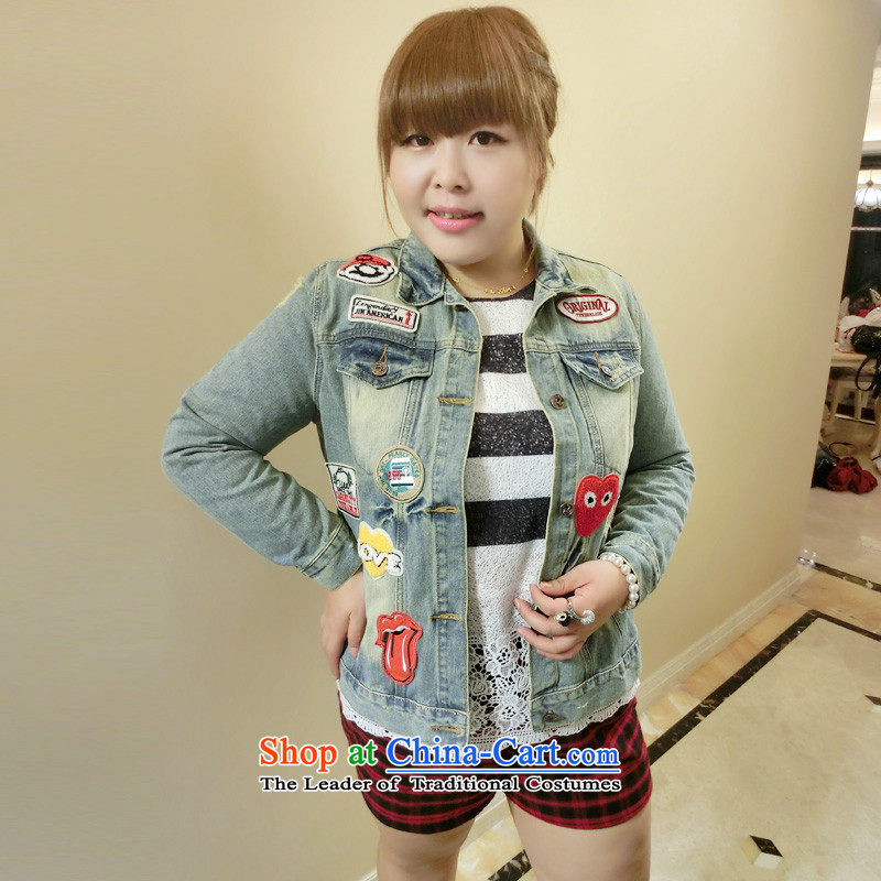 Addiction is large, women's sister 2014 Autumn loaded thick new Korean retro badge cowboy COAT 1359 Blue燲XL