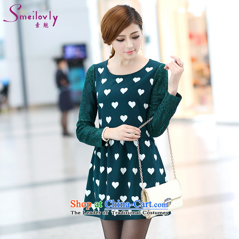 Of staff to increase the burden of 200 yards women fall inside the new Fat MM long-sleeved lace heart-shaped stamp graphics thin dresses燬267牋3XL green
