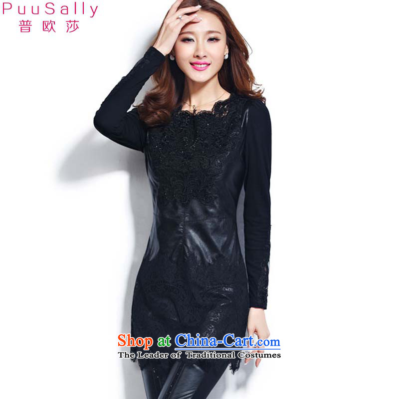 The Republika Srpska Euro 2015 Elizabeth autumn and winter clothes in long lace forming the Netherlands stitching PU plus large forming the thick wool sweater women 8220 Black燣