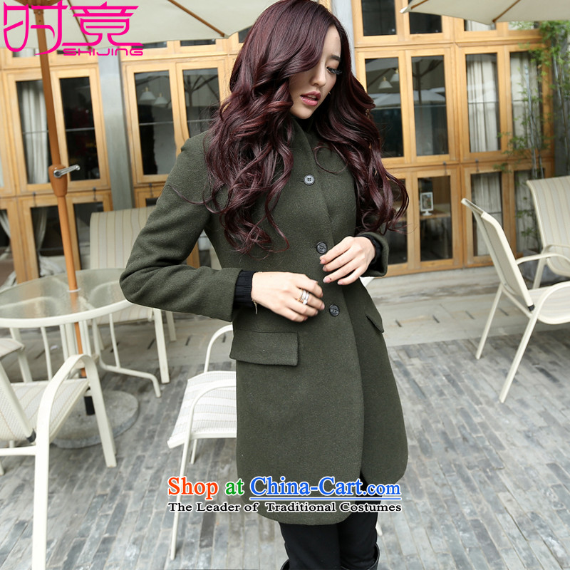 Even with the new 2015 Autumn Korean-Sau San long roll collar small incense wind single row detained wool a wool coat W8819 Army Green M