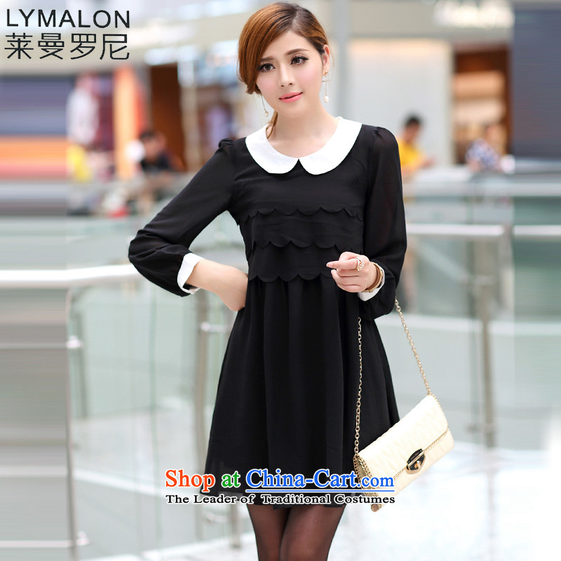 The lymalon lehmann thick, Hin thin 2015 autumn the new Korean version of large numbers of ladies fashion Sau San long-sleeved chiffon dresses date benefited 2,657 Black燲L