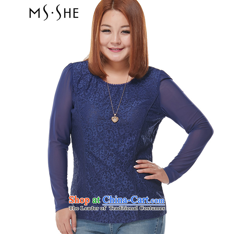 Large msshe women 2015 Autumn New_ thick mm Sau San lace wild stretch long-sleeved shirt 7683 Blue�L Coated