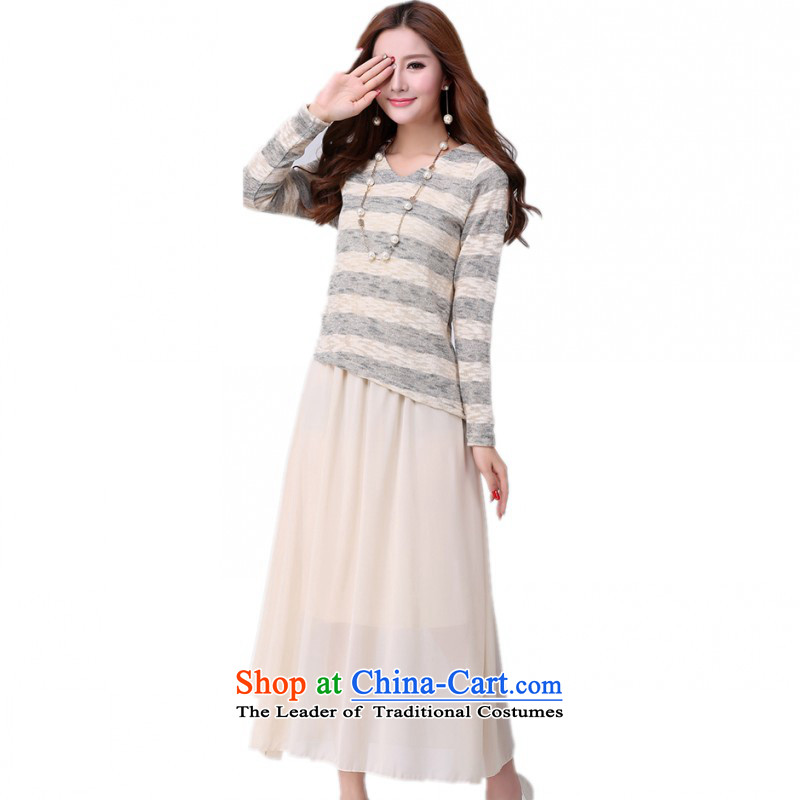 C.o.d. Package Mail women benefit from the new fall together plus overweight dress 2015 Fall_Winter Collections two kits knitting chiffon long skirt video thin OL lady dresses apricot�L燼pproximately 175-190 catty
