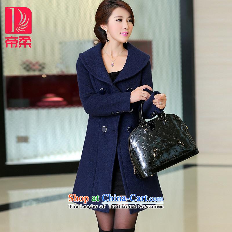 Dili Sophie _DIROU_2015 winter new Women's jacket coat Korean gross?   in long double-Wool Velvet DD251 a blue燲L