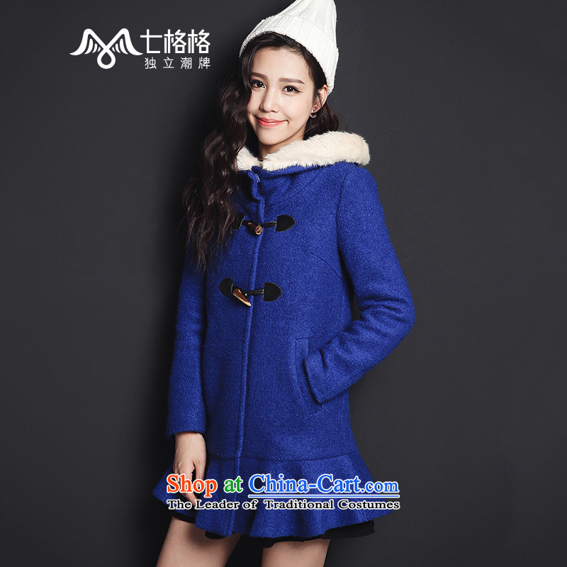The interpolator seven female autumn and winter, horns detained billowy flounces cap for Gross Gross Jacket Fluorescent Blue S? - Leisure Version