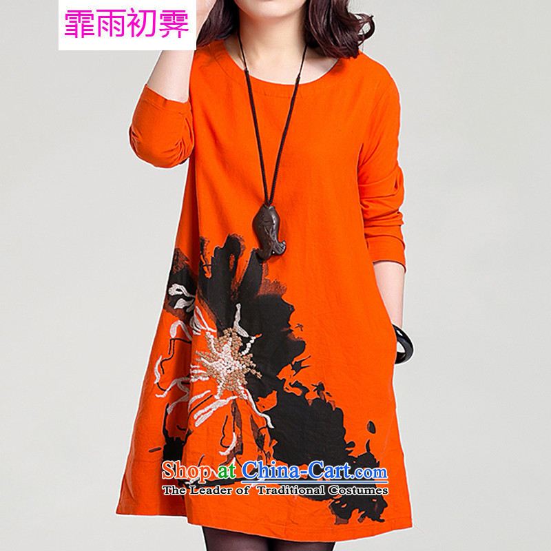The beginning of the rain. Arpina ji�15 Autumn new the new Korean version of large numbers of ladies loose embroidery large round-neck collar cotton linen dresses G872 long-sleeved orange燬 110-130 catty