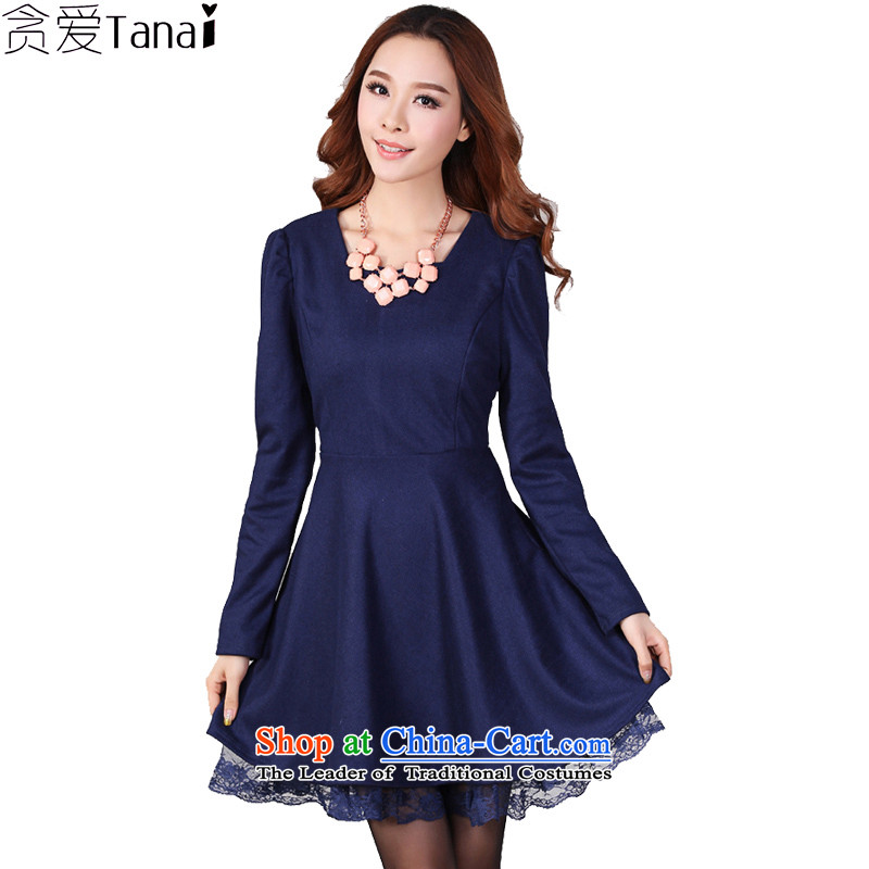 Coveted New Fall_Winter Collections Korean commuter Foutune of thick npc code female graphics thin gross? long-sleeved dresses5308 dark blue3XL recommendations 165 percent weight