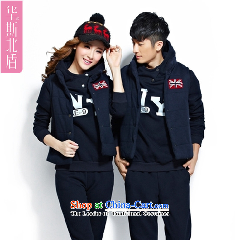 The Korean version of the new men sweater kits plus lint-free uniforms for larger thick 5XL can penetrate to 200 catties cotton couples SPORTS KIT聽3XL Dark Blue