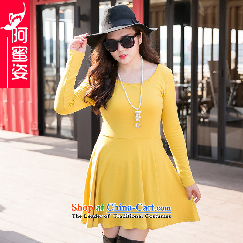 Amista Asagaya Gigi Lai Fat mm larger female wild pure color new boxed Korean autumn round-neck collar forming the long-sleeved dresses female� 20爕ellow燲XXXL