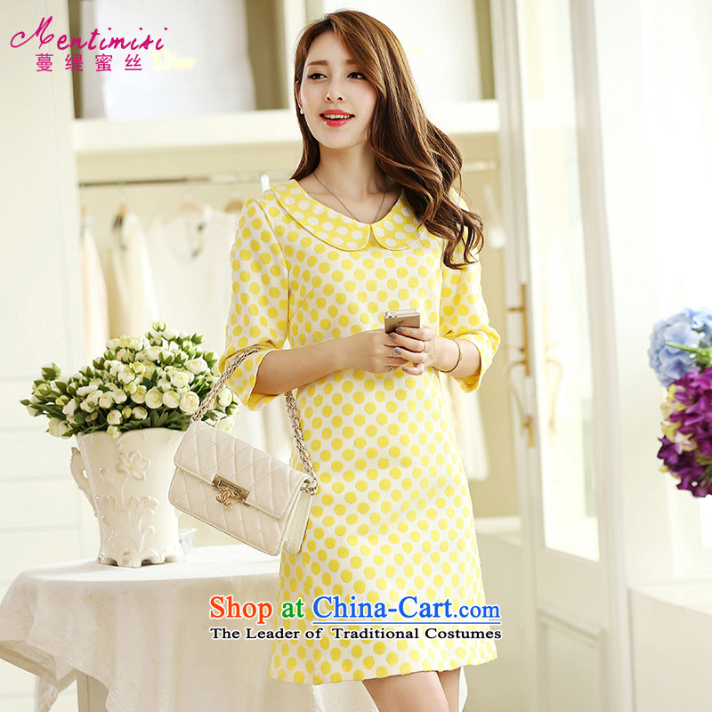 Overgrown Tomb economy honey population to increase women's code load autumn 2014 mm thick fashion dolls for cuff wave point thick sister video thin dresses�83燣arge Yellow 4XL