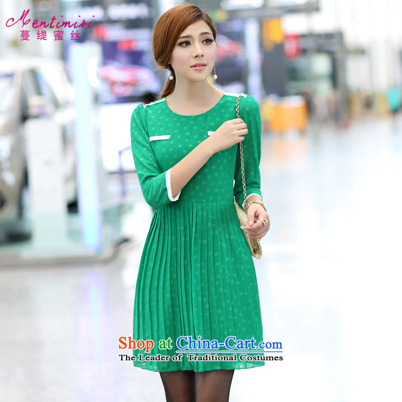 Overgrown Tomb economy honey population to increase women's code thick mm autumn 2014 New Korea boxed version thin Foutune of stylish wave snow woven dresses爈arge green 5XL 2669