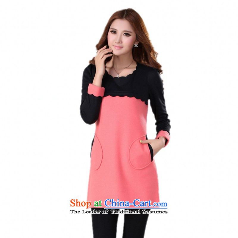 C.o.d. Package Mail women benefit from the new fall together with ventricular hypertrophy of dresses 2015 Fall/Winter Collections commuter temperament gross long-sleeved skirt video thin? forming the skirt pinkapproximately 170-185 4XL catty