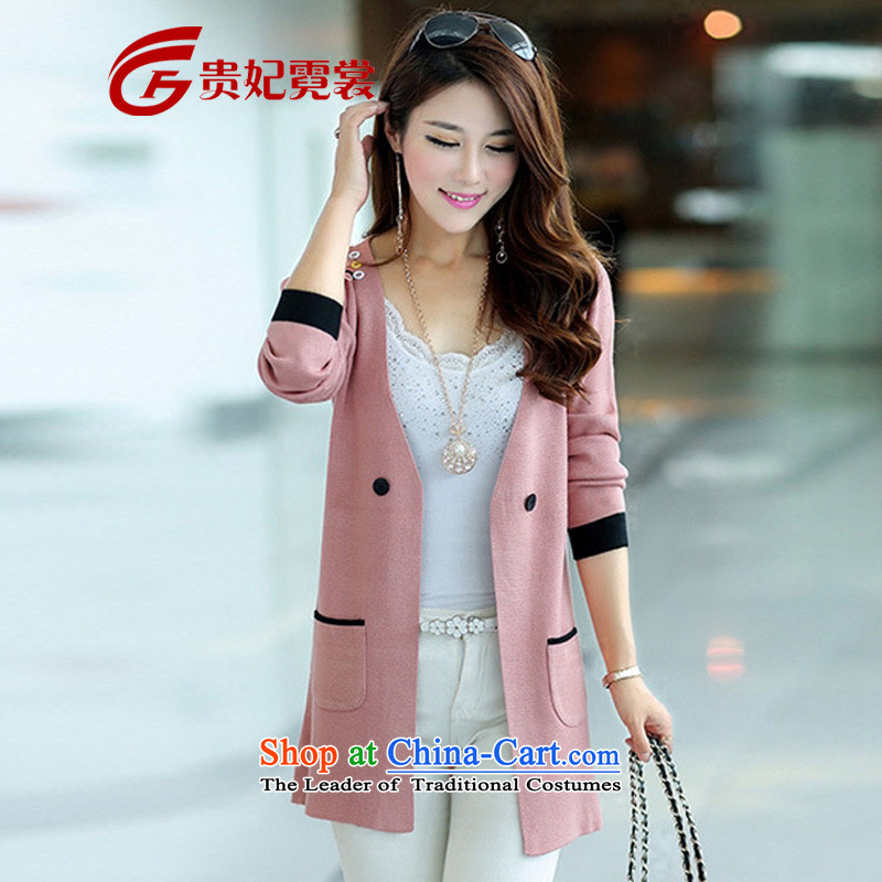 2015 mm thick spring new long-sleeved solid color to xl Woolen Sweater Knit-in long cardigan female Korean blouses 38 PINK�L爓eight 130-145 catty