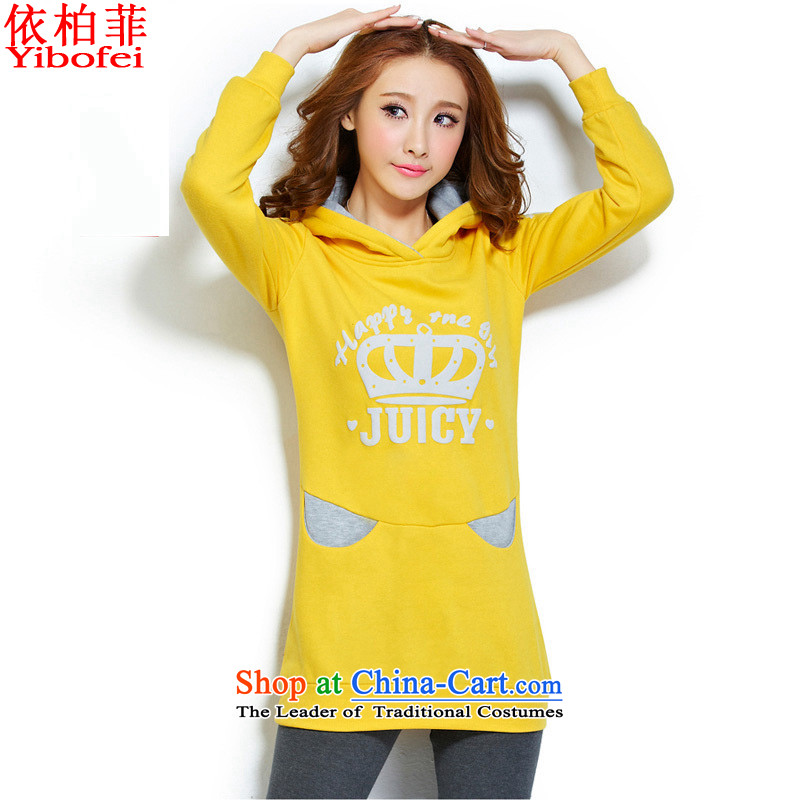In accordance with the�15 Winter New Fat MM to xl stamp with cap in long sleeve sweater female Y065 head yellow燣