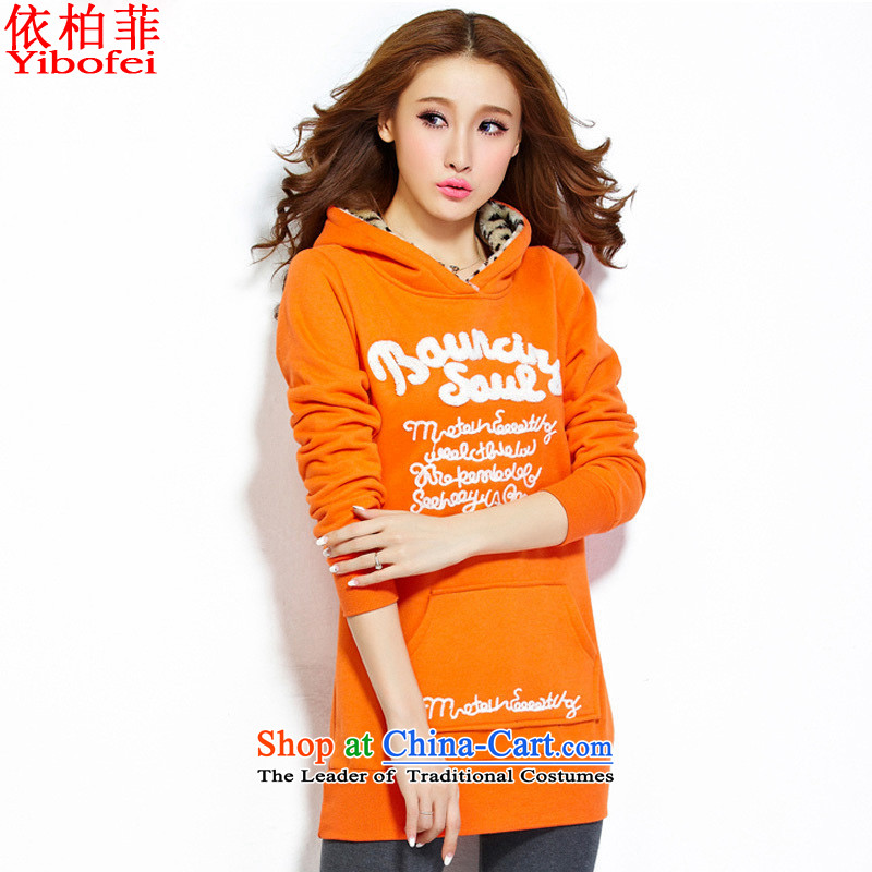 In accordance with the�15 Winter New Fat MM XL women caught in the header of lint-free thick kit long sweater jacket female Y067 ORANGE燲L