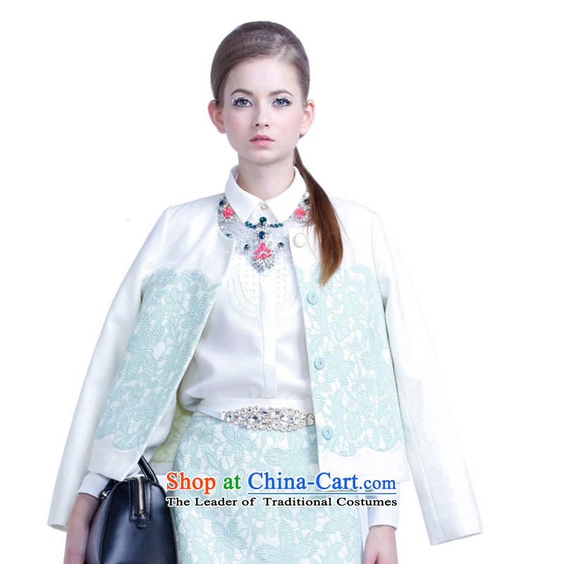 Five new female spring plus fresh embroidered loose round-neck collar long-sleeved jacket 2135343430 thin wool? green L_170_92a_ 580